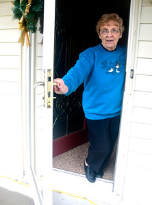 1/3/2017 Mike Orazzi | Staff Southington resident Vella Panella talks about a loud noise she heard on Monday from her Manor Road.
