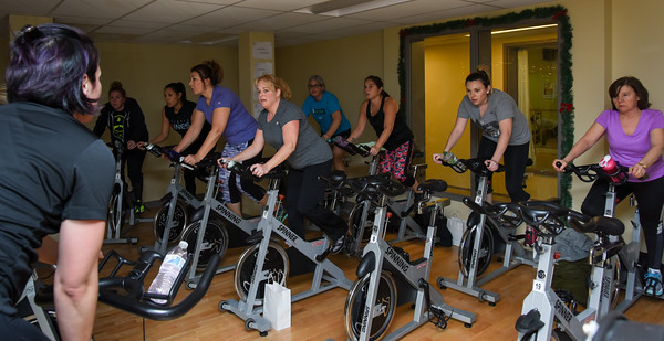 010316  Wesley Bunnell | Staff  The YWCA held a group exercise class Rock Your Resolution on Tuesday evening consisting of a 90 minute training circuit. The class was broken up into two sections including a spin class.