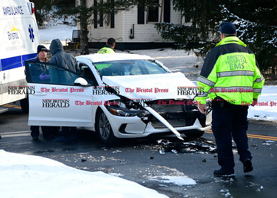 1/6/2017 Mike Orazzi | Staff The scene of a two car crash on Divinity Street near Dollar General in Bristol Friday afternoon.