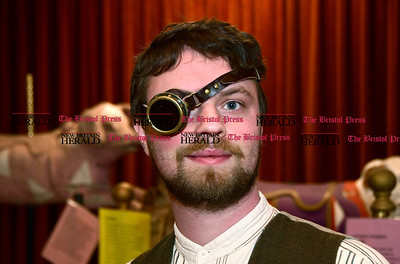 1/7/2016 Mike Orazzi | Staff Chris Pensiero during the Brass Ring Academy and Cabaret's steampunk fashion, workshops, art, vendors, music and performances at the England Carousel Museum in Bristol Saturday.