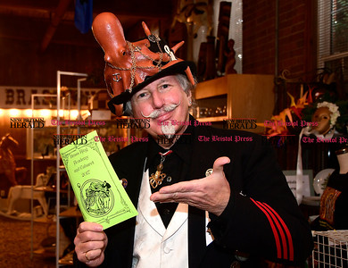 1/7/2016 Mike Orazzi | Staff Doug Yeager greets at the door of the Brass Ring Academy and Cabaret complete with steampunk fashion, workshops, art, vendors, music and performances at the England Carousel Museum in Bristol Saturday.