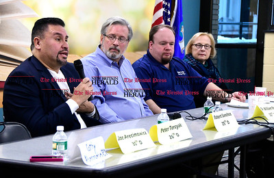 1/7/2016 Mike Orazzi | Staff State Rep Robert Sanchez during the New Britain area League of Women Voters' public brunch with New Britain area legislators Saturday at the New Britain Public Library.