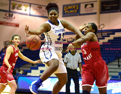 1/7/2017 Mike Orazzi | Staff CCSU's Brianna Jacobs (23) and Sacred Heart's Adaysha Williams (3) during Saturday's women's basketball game in New Britain.