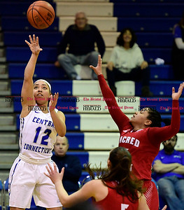1/7/2017 Mike Orazzi | Staff CCSU's Sydney Hines (12) during Saturday's women's basketball game in New Britain.