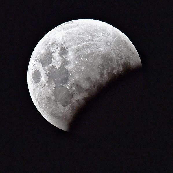 """Lunar Eclipse, Townsville, January 31st, 2018 - Soon after start.""  (Nikon D750, Tamron 150-600mm at 600mm)"