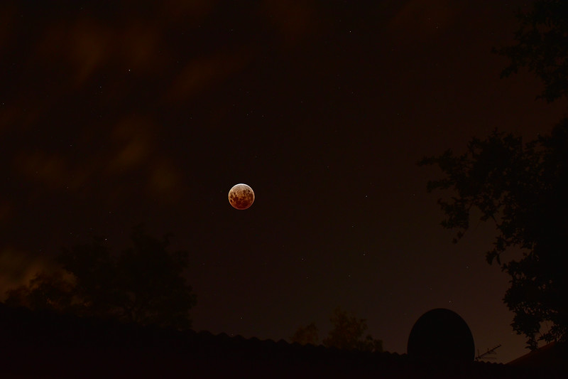 Lunar Eclipse, Townsville, January 31st, 2018. Backyard, wide-field perspective. A few minutes before totality - when earthshine is the only significant illumination of the moon. 1 of 3.