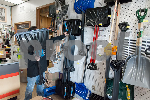 01/03/18 Wesley Bunnell | Staff Ray Hart of Rutkowski Paint and Hardware on Broad St. stocks snow shovels on Wednesday afternoon ahead of Thursday's winter storm.