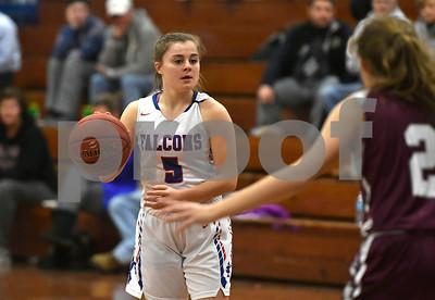 1/3/2017 Mike Orazzi | Staff St. Paul's Emma Cretella (5) during Wednesday night's girls basketball game in Bristol.