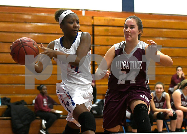 1/3/2017 Mike Orazzi | Staff St. Paul's Taylor Crawford (2) and Naugatuck's Hailey Deitlebaum (24) during Wednesday night's girls basketball game in Bristol.