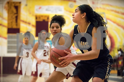 01/08/18  Wesley Bunnell | Staff  New Britain basketball was defeated by Newington on Monday evening at New Britain High School. Erika Cuevas (5).