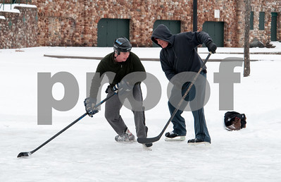 01/08/18  Wesley Bunnell | Staff  Billy Edwards, L, faces his father, Jack, in a friendly game of hockey on Monday afternoon at Rockwell Park in Bristol.