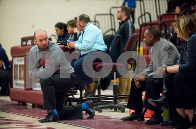 01/08/18  Wesley Bunnell | Staff  New Britain basketball was defeated by Newington on Monday evening at New Britain High School. Head coach Marc Wesoly, L, looks back at his bench during the 2nd half.
