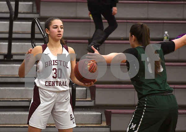 1/16/2018 Mike Orazzi | Staff Bristol Central Girls Basketball's Gwen Torreso (30) during Tuesday night's game with Maloney in Bristol.