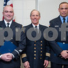 01/22/18  Wesley Bunnell | Staff<br /> <br /> The Bristol Fire Department honored two of their own on Monday evening for helping save the life of an elderly woman.  Lt. Lance Lavore, L, and FF Adam Hayes, R, stand with Deputy Chief John Ziogas after Ziogas read their  citations during the fire commission meeting at city hall.