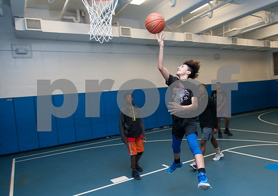 01/22/18  Wesley Bunnell | Staff  Nuski Santana plays along with other members of the high school program of the New Britain Boys and Girls Club on Monday evening.