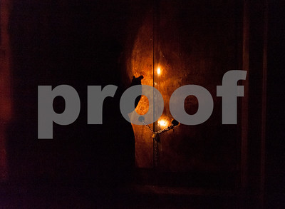 01/23/18  Wesley Bunnell | Staff  Volunteers from Connecticut Counts stopped by different parts of New Britain on Tuesday night as part of a larger nationwide effort to take an accurate count of sheltered and unsheltered homeless. Flashlights light up the front of a chained up abandoned building on Court St.