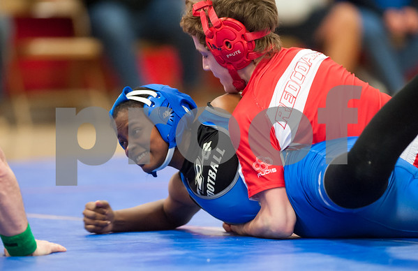 01/24/18 Wesley Bunnell   Staff Berlin wrestling defeated Plainville 54-21 at Berlin High School on Wednesday night. Plainville's Shai-yonna Durham vs Berlin's Nate Orde in the 120lb weight class.
