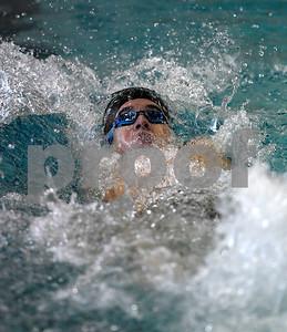 1/30/2018 Mike Orazzi | Staff Berlin's Kurt Bauer during Tuesday's swim meet in Bristol.
