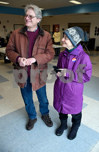 1/30/2018 Mike Orazzi | Staff Plainville residents Frank and Irene Avella after voting on upgrades to the town's water pollution control facility Tuesday afternoon.