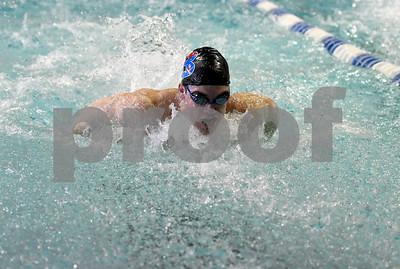 1/30/2018 Mike Orazzi | Staff Berlin's Connor Recck during Tuesday's swim meet in Bristol.