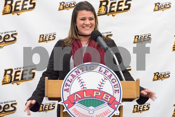 01/11/18 Wesley Bunnell | Staff Former major leaguer Wally Backman was officially introduced as the 2nd New Britain Bees Manager on Thursday afternoon at New Britain City Hall. Mayor Erin Stewart.