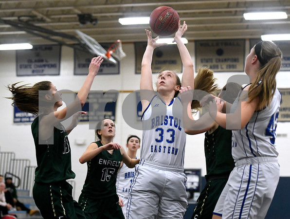 1/11/2018 Mike Orazzi   Staff Bristol Eastern's Jordan Ouellette (33) during Thursday night's girls basketball game at BE.