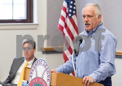 01/11/18  Wesley Bunnell | Staff  Former major leaguer Wally Backman was officially introduced as the 2nd New Britain Bees Manager on Thursday afternoon at New Britain City Hall.  Manager Wally Backman speaks to the audience as General Manager Brad Smith sits in the background.
