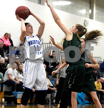 1/11/2018 Mike Orazzi | Staff Bristol Eastern's Hannah Maghini (11) during Thursday night's girls basketball game with Enfield at BE.