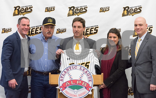 01/11/18 Wesley Bunnell | Staff Former major leaguer Wally Backman was officially introduced as the 2nd New Britain Bees Manager on Thursday afternoon at New Britain City Hall. Bees Owner Anthony Iacovone, Bees Manager Wally Backman, General Manager Brad Smith, Mayor Erin Stewart and Bees Owner Michael Pfaff.