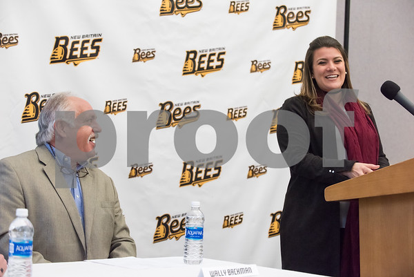 01/11/18 Wesley Bunnell | Staff Former major leaguer Wally Backman was officially introduced as the 2nd New Britain Bees Manager on Thursday afternoon at New Britain City Hall. Manager Wally Backman smiles at Mayor Erin Stewart as she gives her remarks.