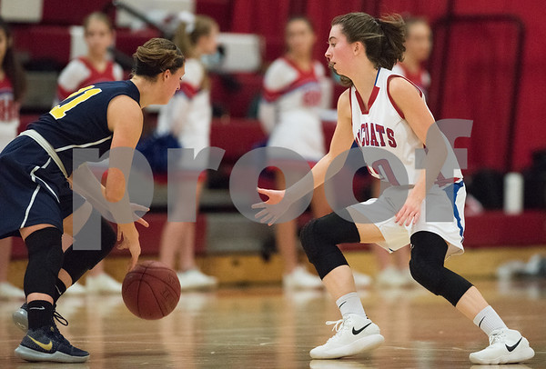 01/12/18 Wesley Bunnell | Staff Berlin High School girls basketball vs RHAM on Friday evening at Berlin High School. Ashley Wenzel (10).