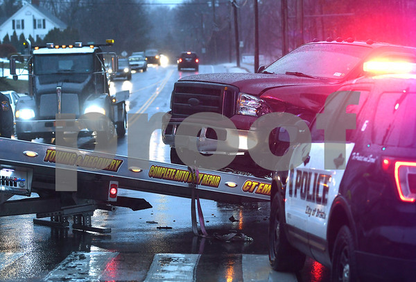 1/12/2018 Mike Orazzi | Staff A two vehicle crash at the intersection of Stafford Ave. Maltby Street Friday afternoon in Bristol.