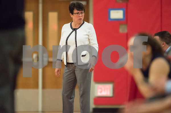 01/12/18 Wesley Bunnell | Staff Berlin High School girls basketball vs RHAM on Friday evening at Berlin High School. Head Coach Sheila King.