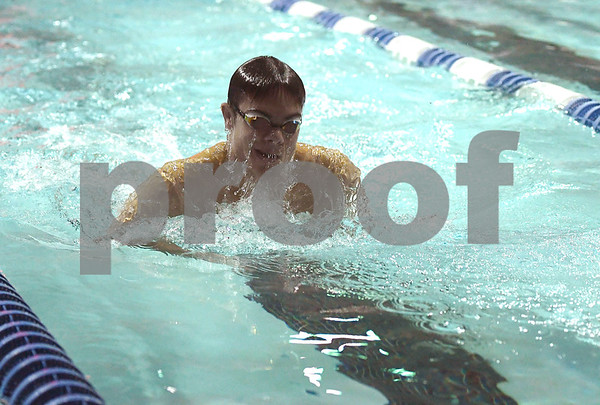 1/12/2018 Mike Orazzi | Staff Southington swimming's Brendon Egan during Friday's swim meet with Bristol.