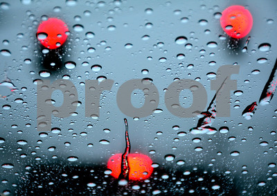 1/12/2018 Mike Orazzi   Staff My rain covered windshield during Friday's rain storm at traffic light in Bristol.