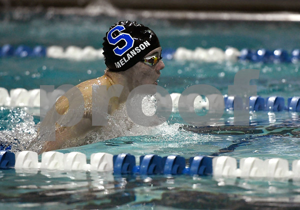 1/12/2018 Mike Orazzi | Staff Southington swimming's Derek Melanson during Friday's swim meet with Bristol.