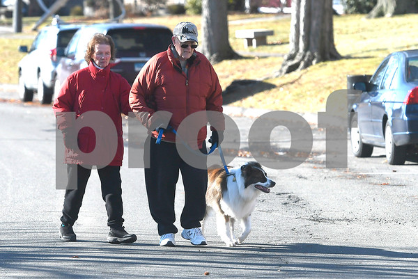 1/13/2018 Mike Orazzi   Staff Terry and Norm Dubuc and their Border Collie mix Brandy,3, while walking in Walnut Hill Park in New Britain Saturday morning.
