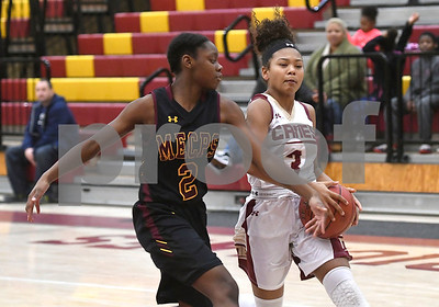 1/13/2018 Mike Orazzi | Staff New Britain's Maya Slisz (3) during Saturday's girls basketball game with Medgar Evers College Preparatory School in New Britain.