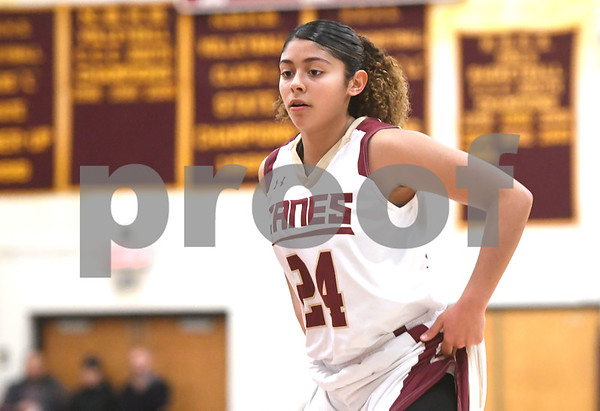 1/13/2018 Mike Orazzi | Staff New Britain's Savannah Gonzalez (24) against Medgar Evers College Preparatory School in New Britain Saturday afternoon.