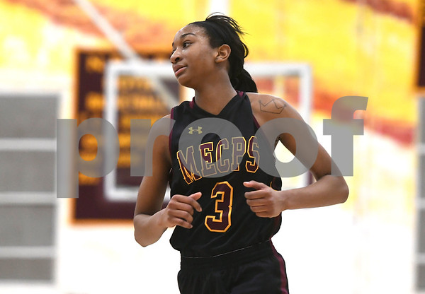 1/13/2018 Mike Orazzi   Staff Medgar Evers College Preparatory School's Shequana Jackson (3) in New Britain Saturday afternoon.
