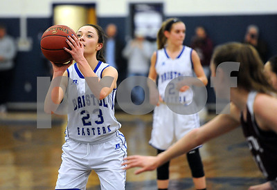 1/18/2018 Mike Orazzi | Staff Bristol Eastern's Cheyenne Sargent (23) during the girls basketball game at BEHS Thursday night.