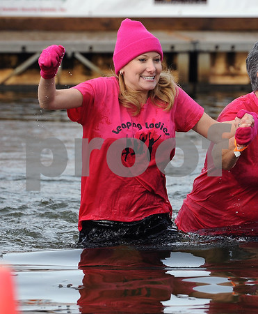 1/20/2018 Mike Orazzi | Staff Shannon Eterginio during the 13th Annual Sloper Plunge at Camp Sloper in Southington Saturday.