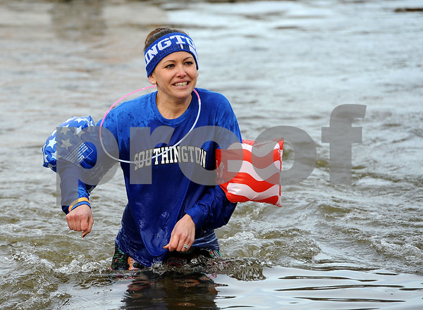 1/20/2018 Mike Orazzi | Staff Plunger Kelly Leppard during the 13th Annual Sloper Plunge at Camp Sloper in Southington Saturday.