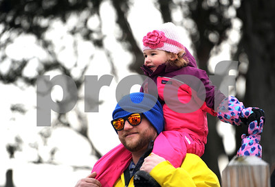 1/20/2018 Mike Orazzi | Staff Rick Knight and his daughter Chloe,2,  during the 13th Annual Sloper Plunge at Camp Sloper in Southington Saturday.