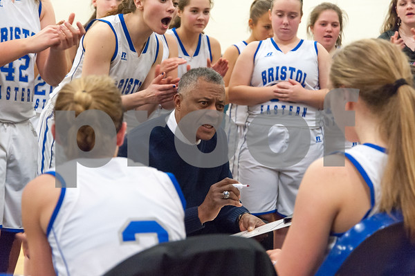01/02/18 Wesley Bunnell | Staff Bristol Eastern basketball fell to Farmington Tuesday evening 48-46 at Bristol Eastern High School. Head Coach Tony Floyd addresses the team with less than a minute left.