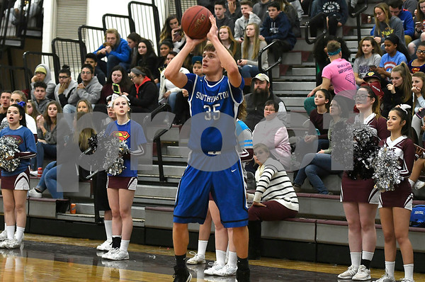 1/2/2018 Mike Orazzi | Staff Southington's Andrew Lohneiss (35) during the boys basketball game between in Bristol Tuesday night.