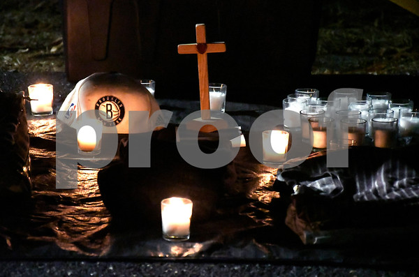 1/27/2018 Mike Orazzi | Staff A tribute set up at Bristol Eastern High School Saturday night for Kerion Rogers during a memorial for the Bristol Eastern graduate who was killed in a car crash last weekend.