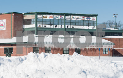 01/05/18  Wesley Bunnell | Staff  Its a long way from baseball season as icicles hang from New Britain Stadium, home of the New Britain Bees, as a large snow pile sits in the parking lot.