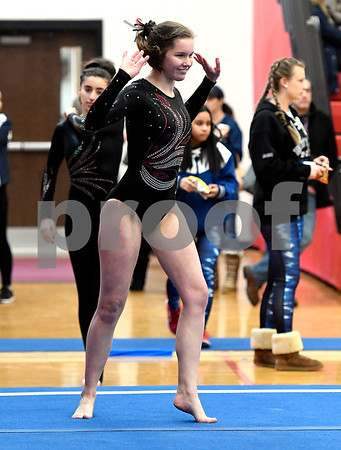 1/6/2018 Mike Orazzi | Staff Pomperaug Girls Gymnastics' Kaitlyn Furr during the floor exercise at the Pomperaug Open held at Pomperaug High School Saturday.