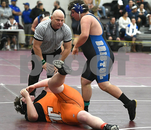 1/6/2018 Mike Orazzi | Staff Terryville's Rich Larson and Bristol Eastern's Andrew Cercone in a 285 match during the Bristol Central High School Invitational wrestling match Saturday in Bristol.